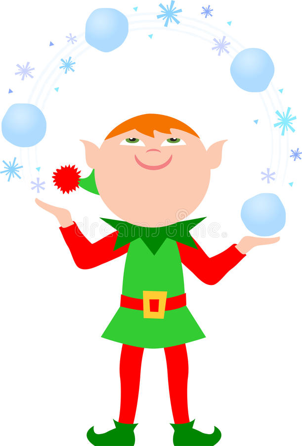 Elf Juggling Snowballs/eps royalty free stock images