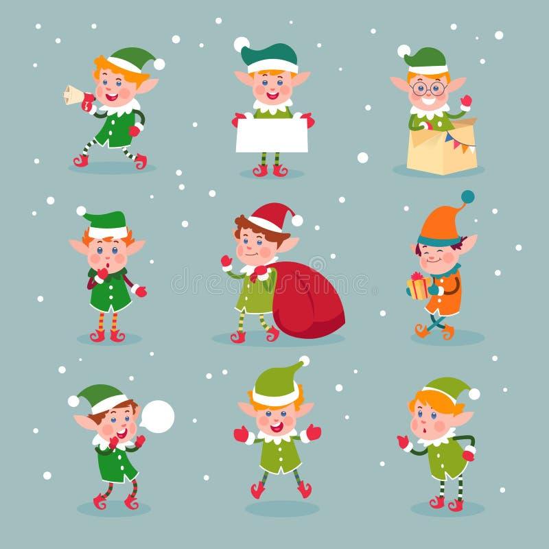 elf Karikaturweihnachtsmann-Helfer, zwergartige Weihnachtsvektorspaß-Elfencharaktere lokalisiert vektor abbildung