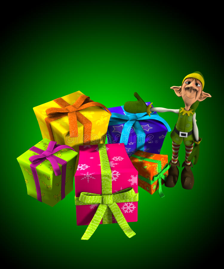 Download Elf With Lots Of Presents stock illustration. Image of cheerful - 22557394