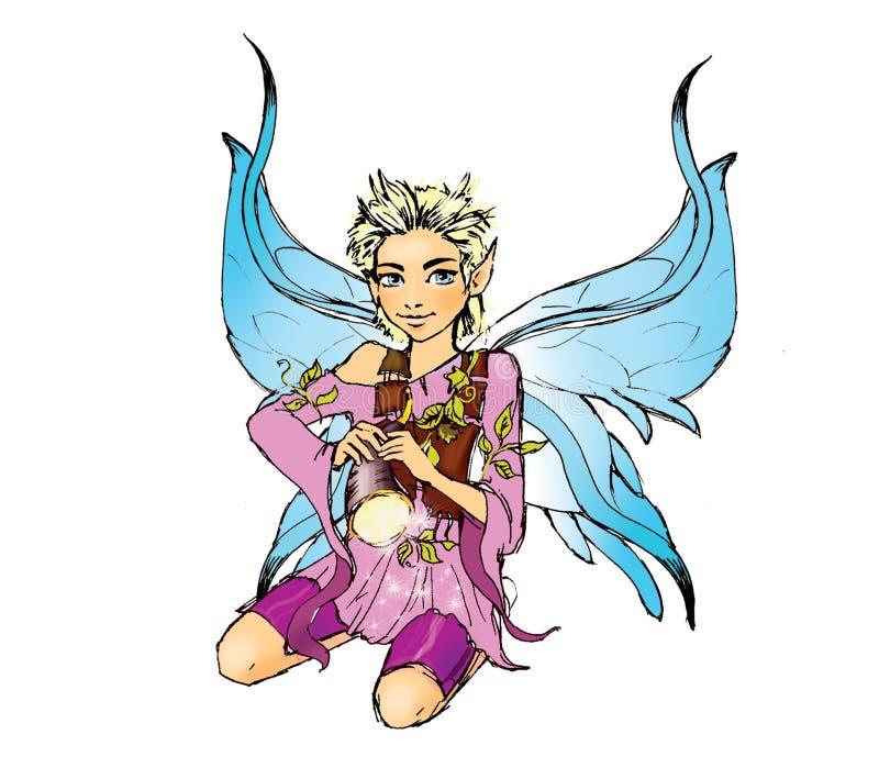 Elf met fluit royalty-vrije illustratie