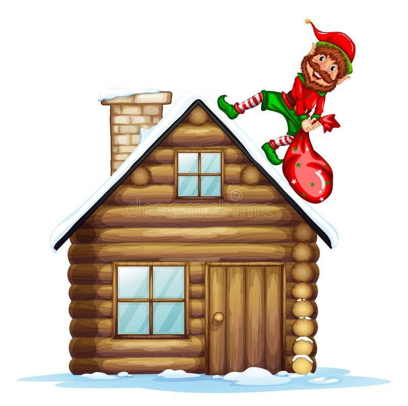 Elf niesie boże narodzenie prezenta torbę ilustracji