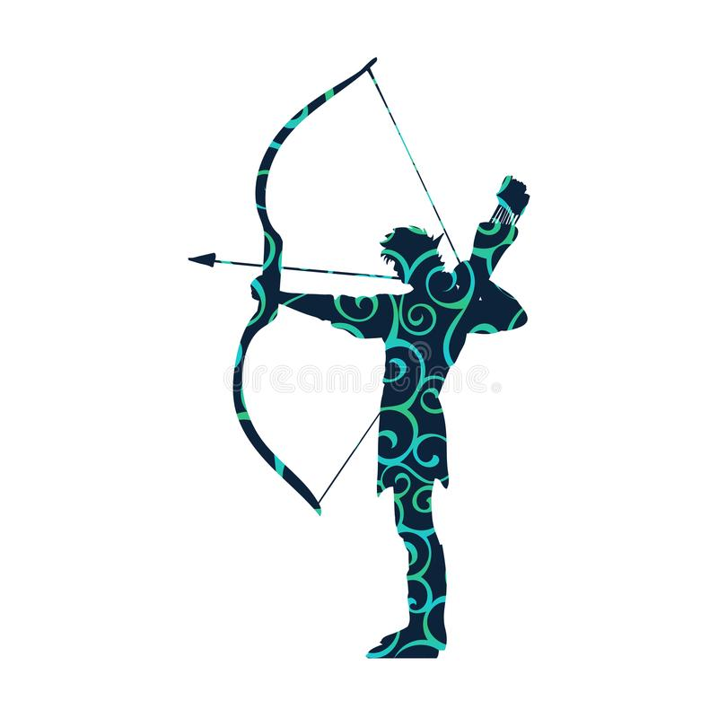 Elf pattern silhouette ancient mythology fantasy stock illustration