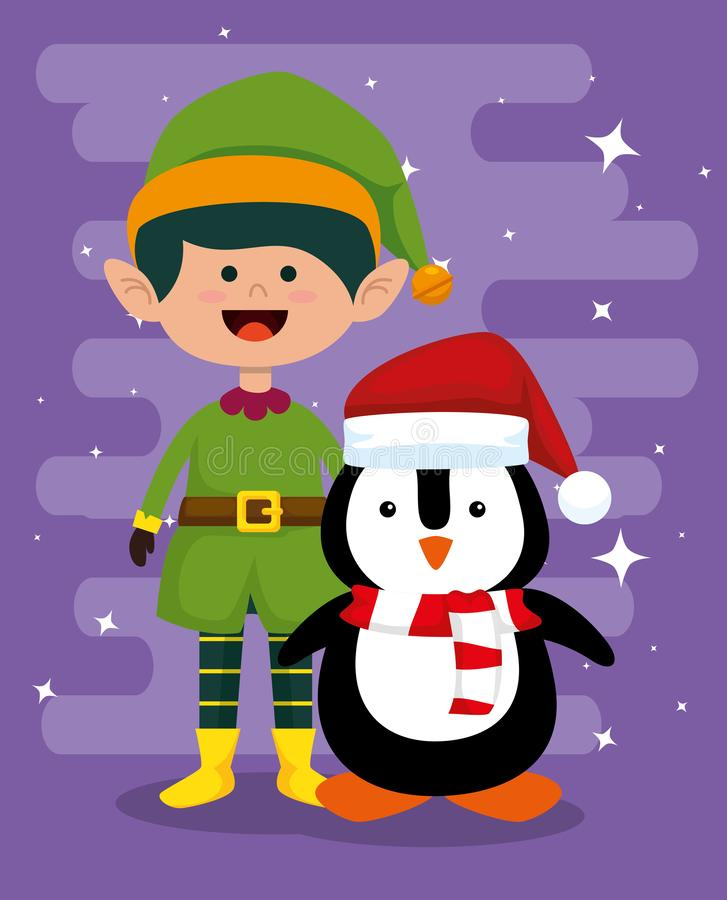 Elf and penguin to celebrate merry christmas vector illustration