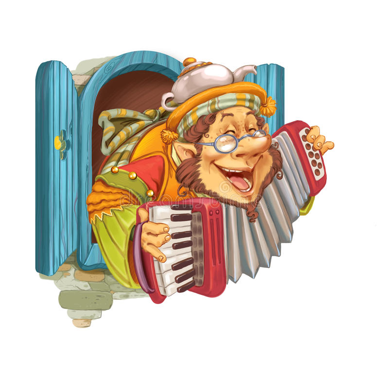 Elf plays cheerful music on an accordion. The elf from the fairy tale plays music on an accordion and invites on a visit. Invitation card for a holiday or stock illustration