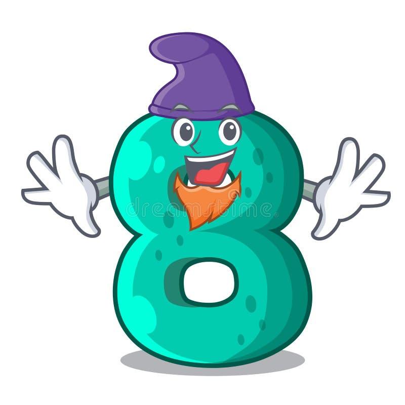 Elf raster version cartoon shaped Number Eight. Vector illustration vector illustration
