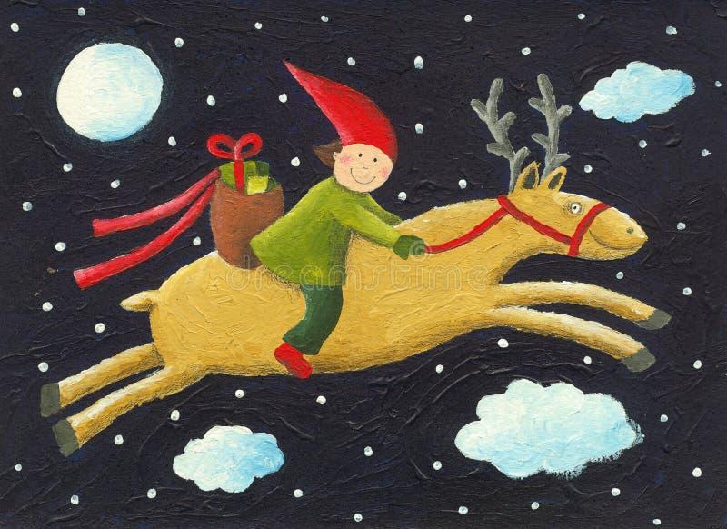Download Elf on reindeer stock illustration. Image of season, sack - 28678772