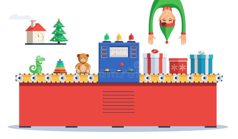 Elf robi prezentom dla bożych narodzeń royalty ilustracja