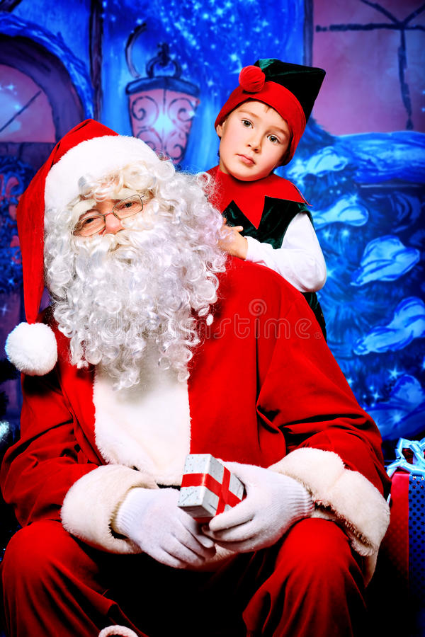 Download Elf and santa stock photo. Image of christmas, happiness - 22026206