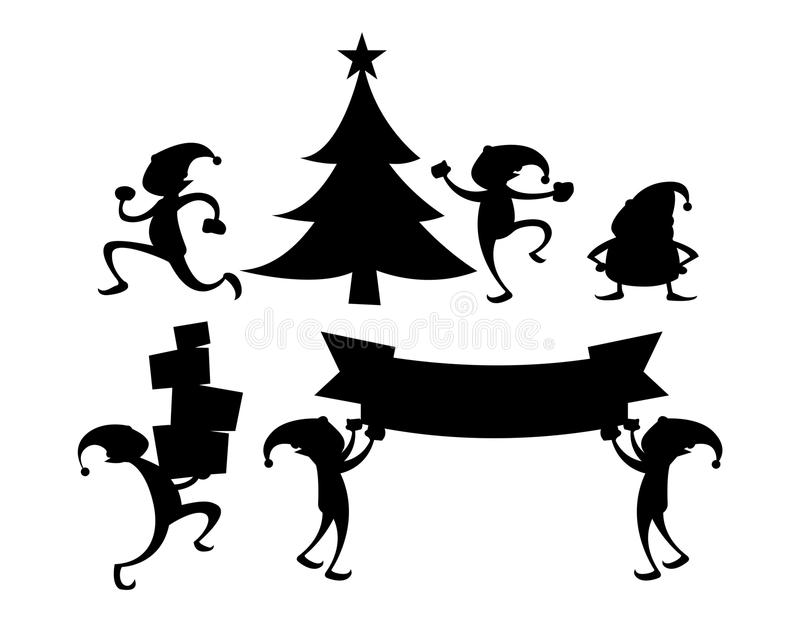 Christmas Elf Silhouette Set. Vector Silhouette of elf in various activity stock illustration
