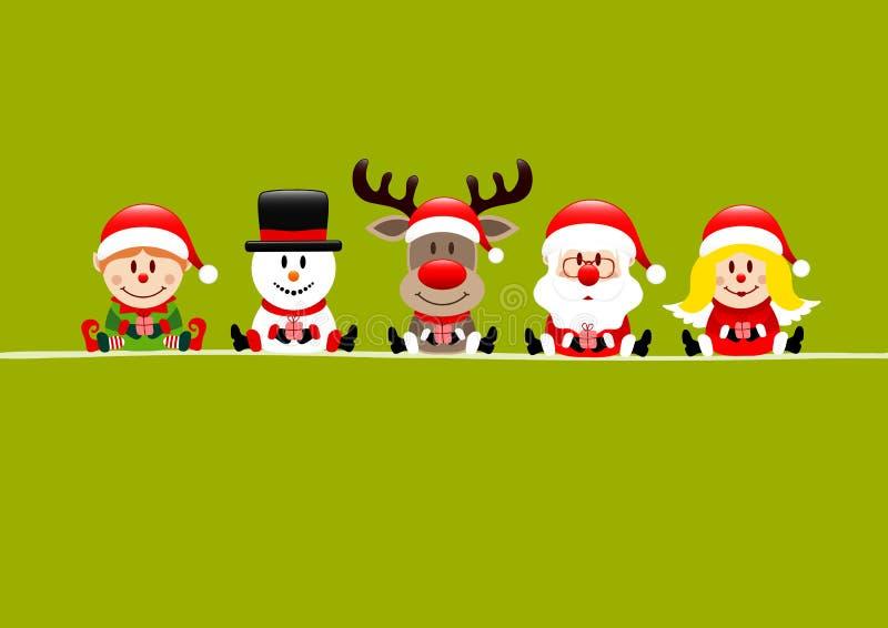 Elf Snowman Reindeer Santa E Angel ilustração do vetor