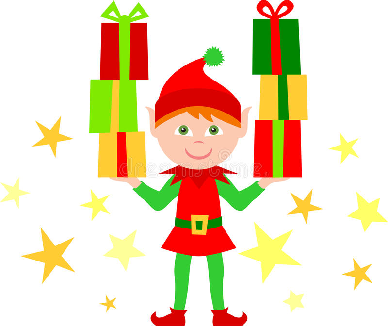 Elf with Stacks of Gifts/eps. Illustration of a cute Christmas elf holding a stack of gift packages in each hand...one of a set of eight matching elves in my vector illustration