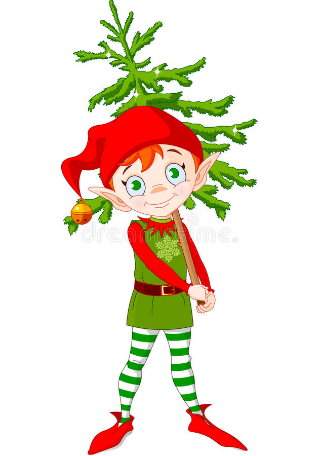 Elf and Tree. Illustration of Cute Christmas elf hording Christmas tree vector illustration