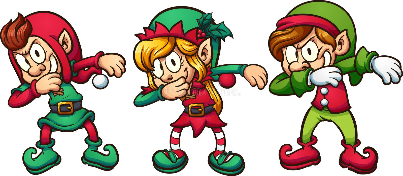 Elf van beeldverhaal de bettende Kerstmis vector illustratie