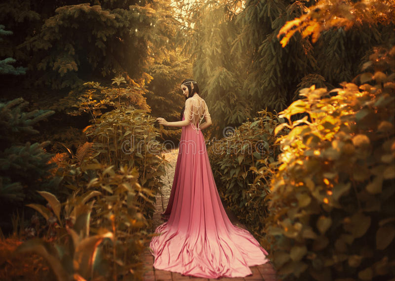 The Elf walks in the autumn garden. A girl with long ears in a beautiful pink dress with an open back and with a long train. Artistic processing stock photos