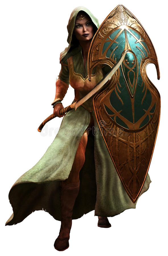 Elf warrior. With shield and scimitar stock illustration