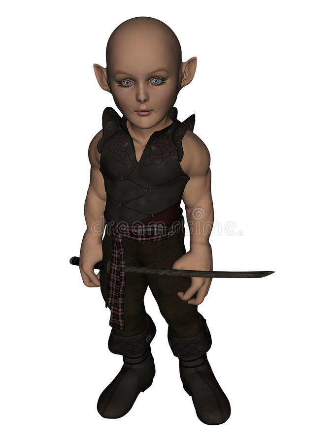Elf Warrior. An elf warrior with a sword in his hand stock illustration