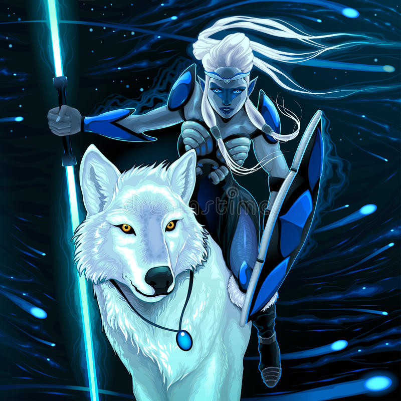 Elf with white wolf. Vector fantasy illustration royalty free illustration