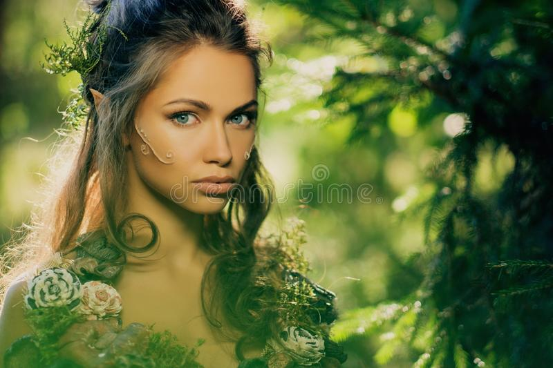Elf woman in a forest royalty free stock images