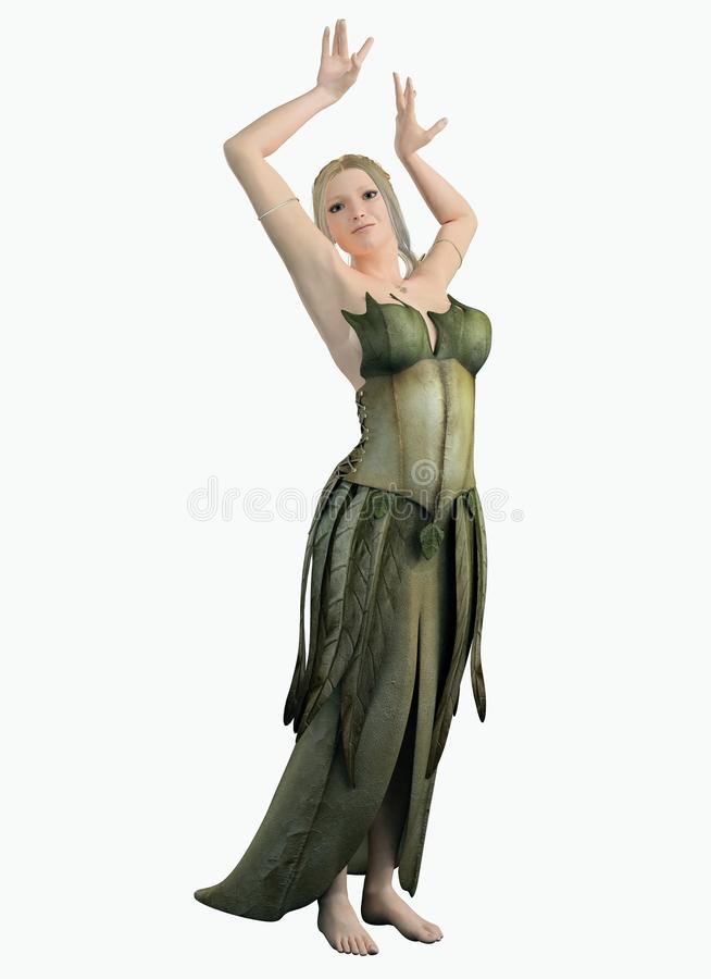 Download Elf Woman In A Green Leaf Dress Stock Illustration - Image: 32185053
