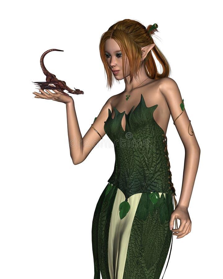Elf Woman and Pet Dragon royalty free illustration