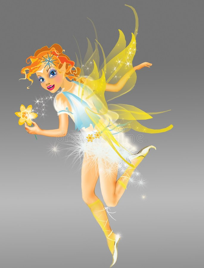 Elf with yellow wings stock illustration