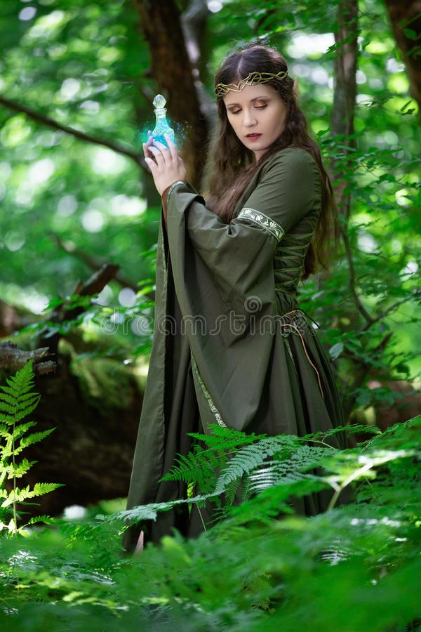 Elf z butelką magiczny napój miłosny fotografia stock