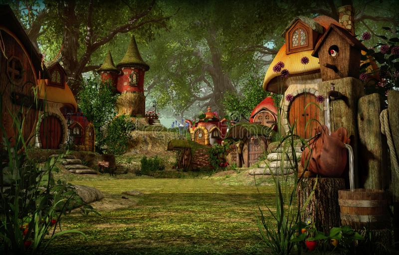 Elfa miasteczko, 3d CG royalty ilustracja
