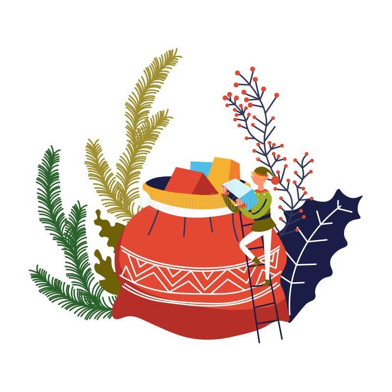 Elfa pomagiera przewożenie teraźniejszy w torbę z prezentami ilustracji