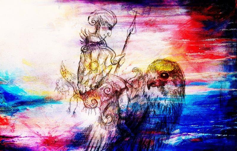 Elfa wojownik na jastrzębiu Ołówkowy rysunek na starym papierze Koloru skutek ilustracja wektor