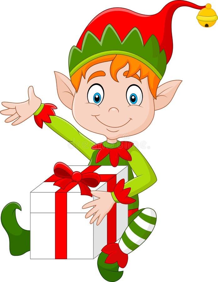 Elfe de bande dessinée tenant le boîte-cadeau illustration libre de droits