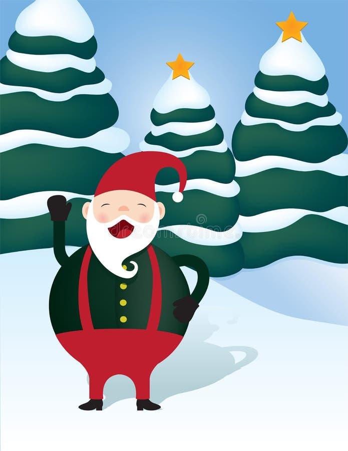 Elfe de Jolly Santa au pays des merveilles d'hiver de Noël illustration libre de droits