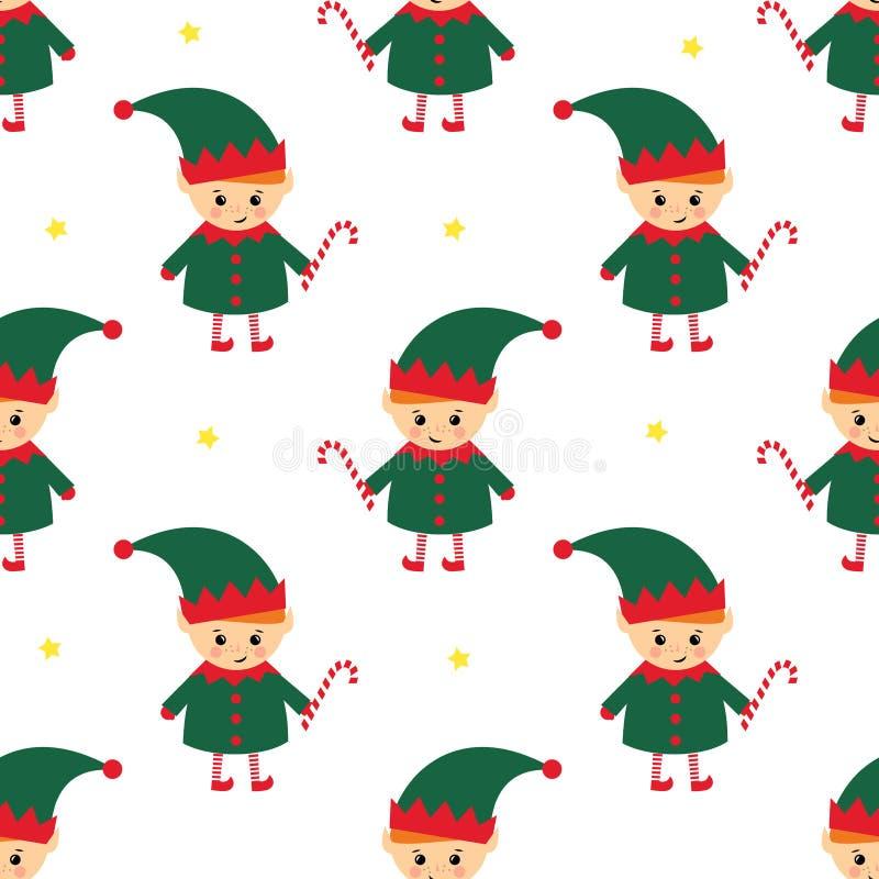 Elfe de Noël avec le modèle sans couture de canne de sucrerie sur le fond blanc illustration libre de droits