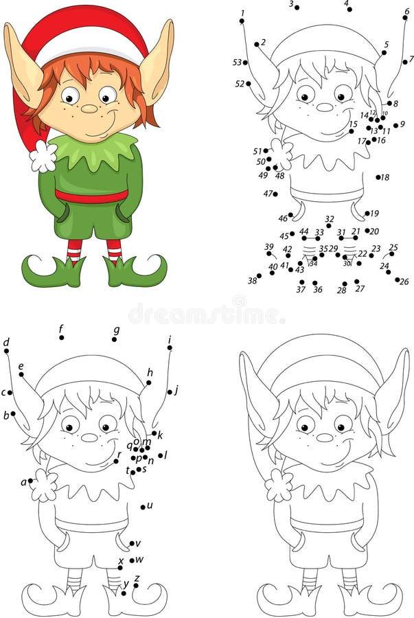 Elfe de Noël Livre de coloriage et point pour pointiller le jeu pour des enfants illustration de vecteur