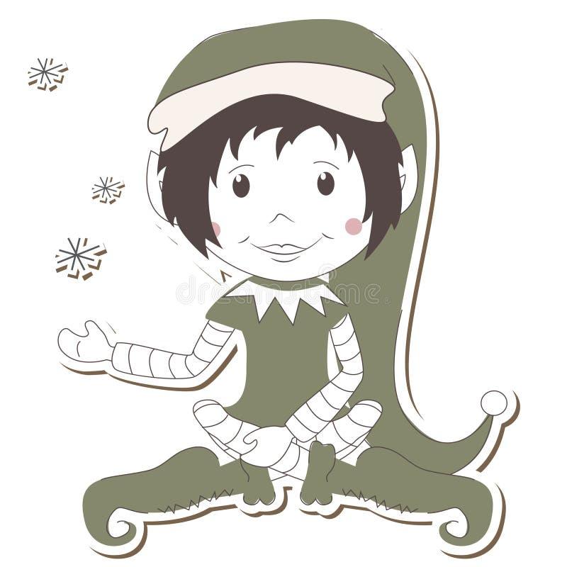 Elfe de Noël sur le fond blanc illustration libre de droits