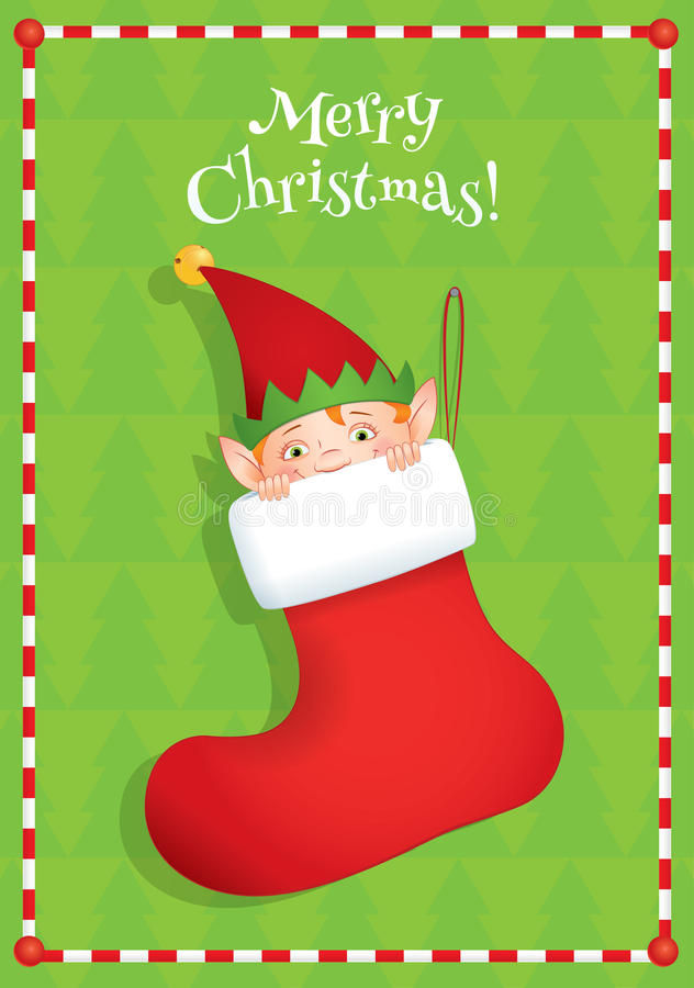 Elfe, die in einem Stiefel sich versteckt stock abbildung