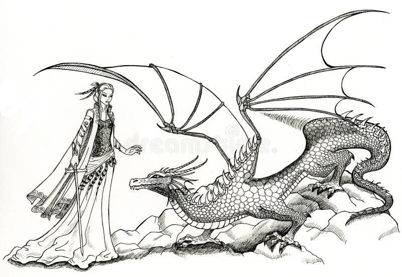 Elfe et dragon illustration stock