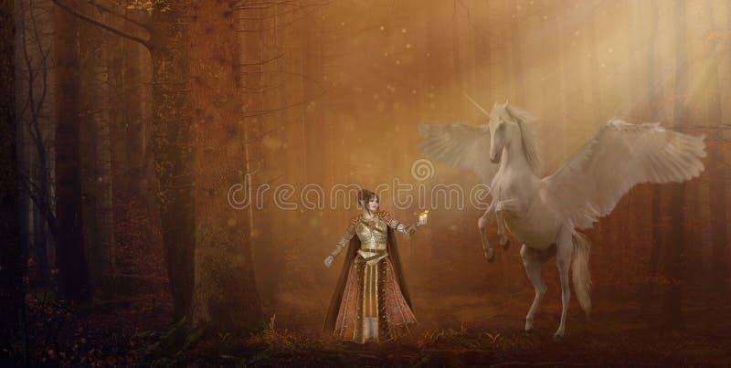 Elfe et licorne d'imagination dans le panorama de forêt illustration de vecteur