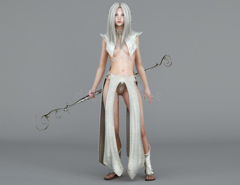Elfe féminin Mage avec des yeux bleus illustration de vecteur