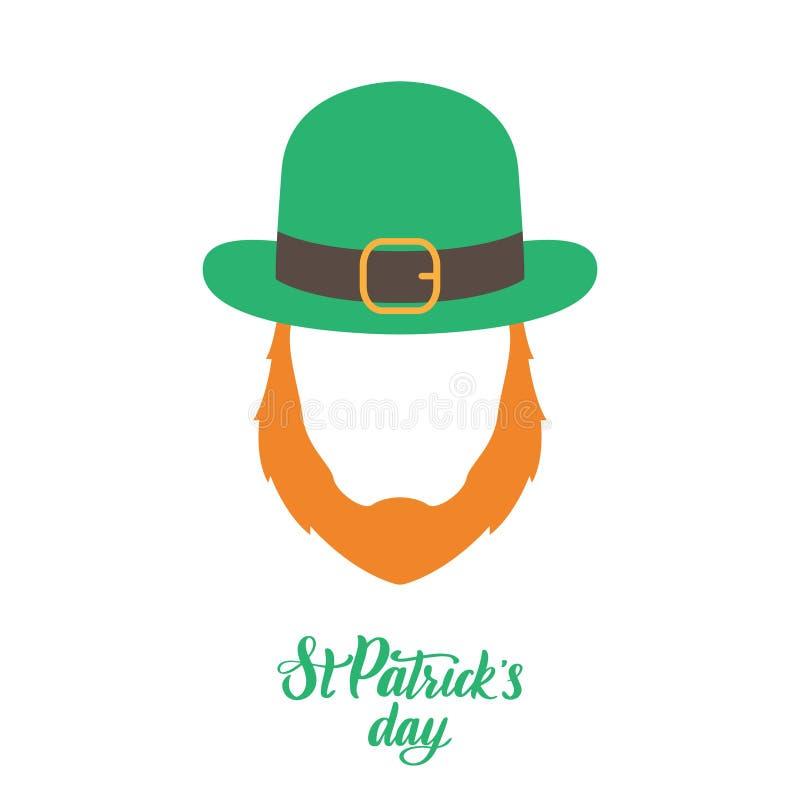 Elfe irlandais avec la barbe rouge et le chapeau vert illustration libre de droits