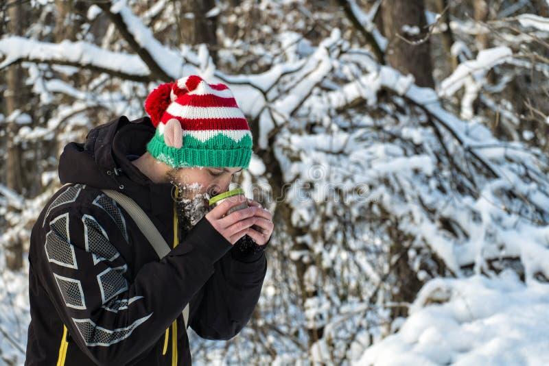 elfe Neige-barbu de Noël buvant du thé chaud d'une tasse dans le gel image stock