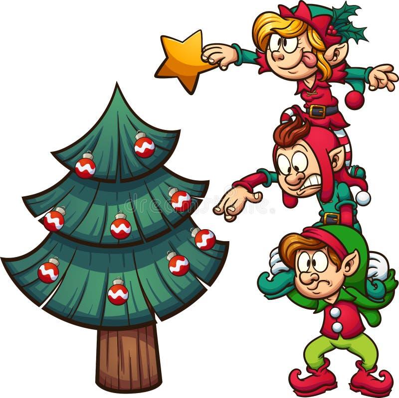 Elfen, die Weihnachtsbaum verzieren stock abbildung