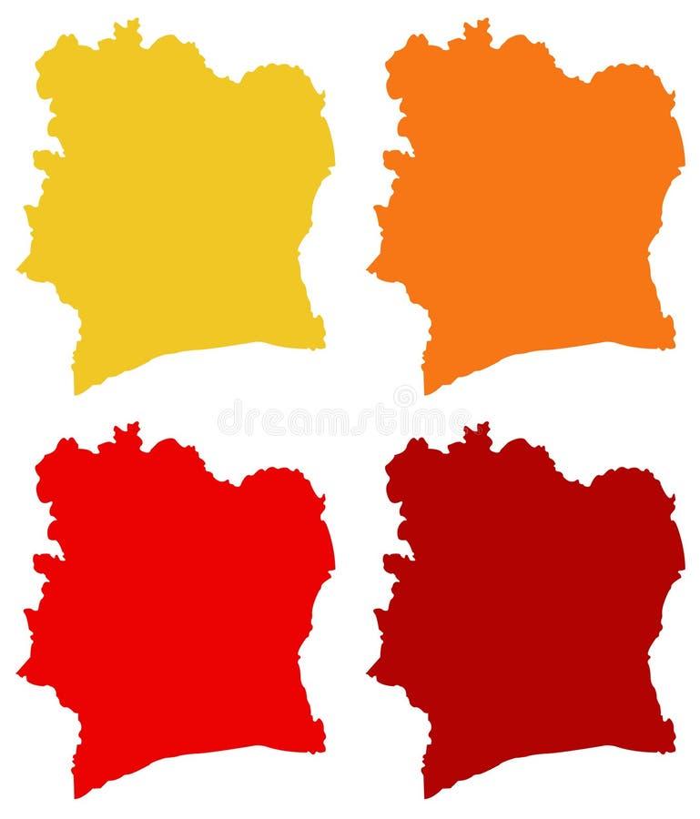 Elfenbenskustöversikt - land som lokaliseras i Västafrika vektor illustrationer