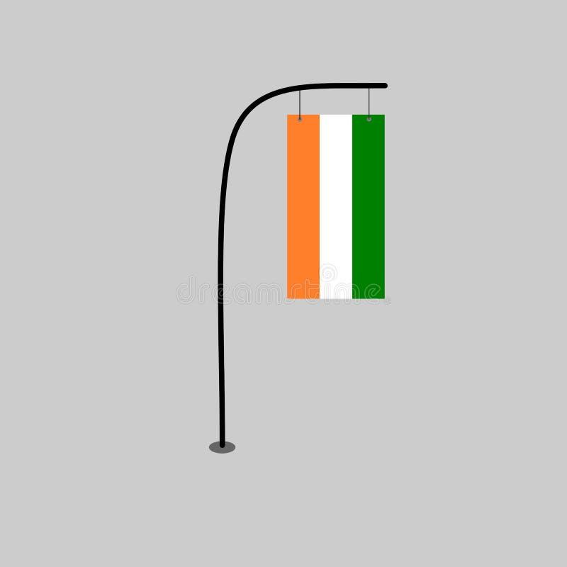 Elfenbenskustenflagga stock illustrationer