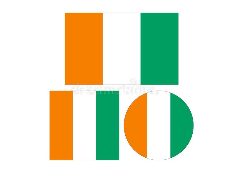 Elfenbenskustflagga - land som lokaliseras i Västafrika royaltyfri illustrationer