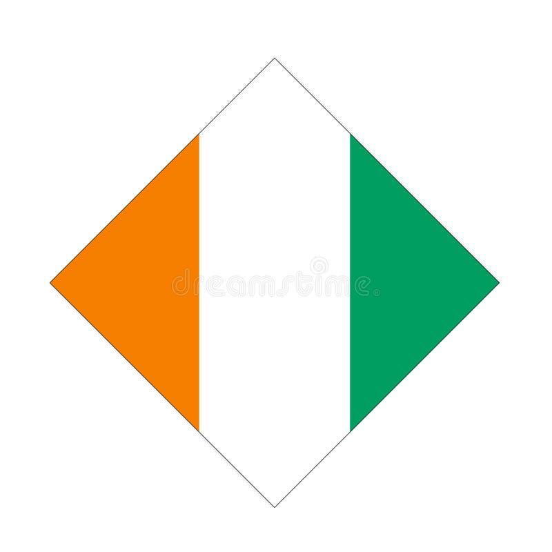 Elfenbenskustflagga - land som lokaliseras i Västafrika stock illustrationer
