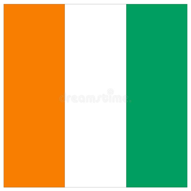 Elfenbenskustflagga - land som lokaliseras i Västafrika vektor illustrationer