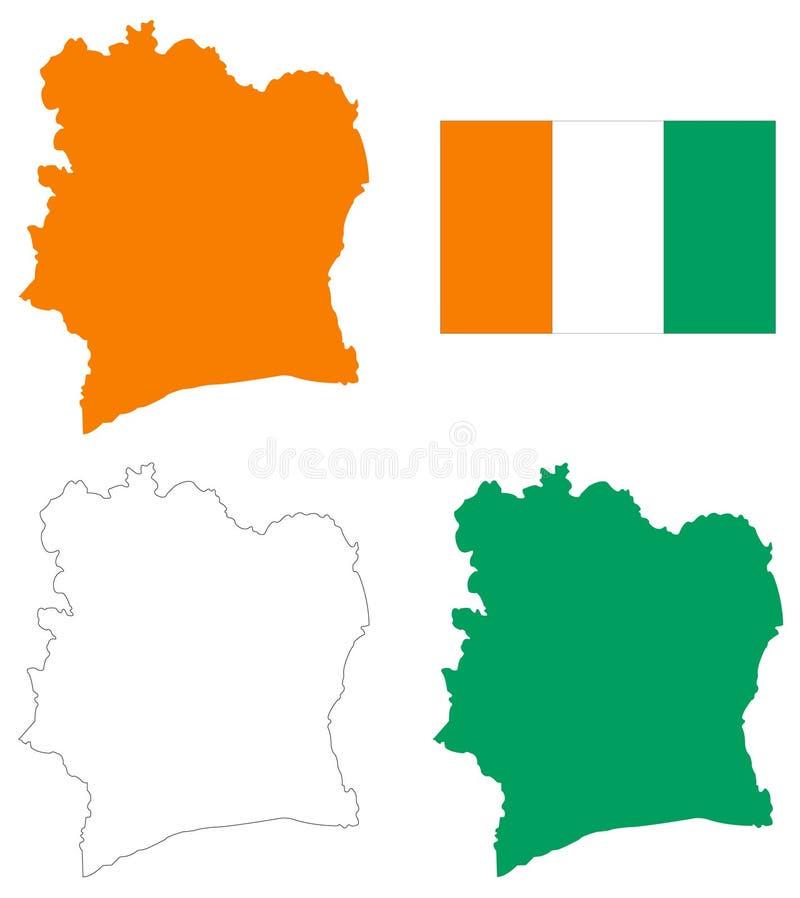 Elfenbenskustflagga och översikt - land som lokaliseras i Västafrika stock illustrationer