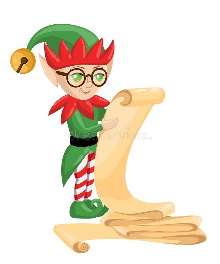 Elfes d'Elf Santa Claus Santa s se préparant à Noël Année de cadeaux de sucrerie de Joyeux Noël nouvelle illustration de vecteur