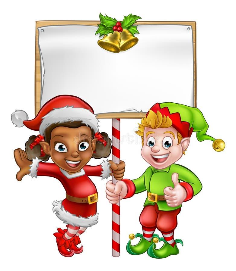 Elfes de Noël de bande dessinée tenant le signe illustration libre de droits