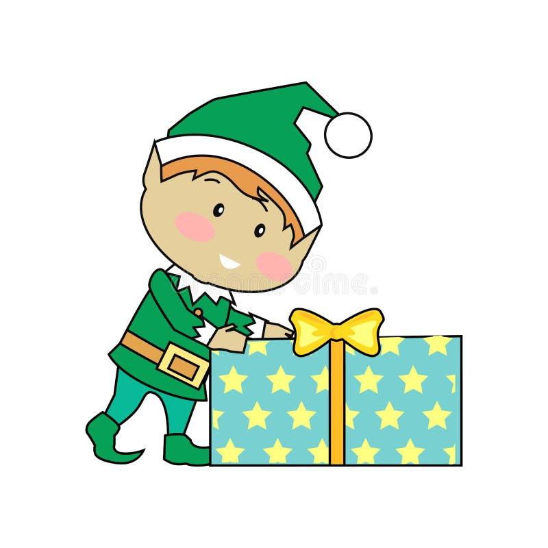 Elfes féeriques avec des cadeaux de Noël illustration libre de droits